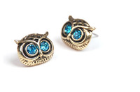 Wholesale 100PCS PR New Retro Fashion Lady Big Eyes Owl Stud Earring Earrings Pin Nail earrings stud