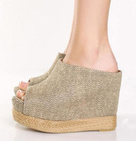 Wholesale 2012 Chic Summer Beige Color Straw Woven Wedge Sandal