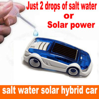 blue+ white big salt - Novelty Toys New energy Solar toy car Solar and Salt Water Hybrid Car Solar Power Toy Salt Water car Children Gift