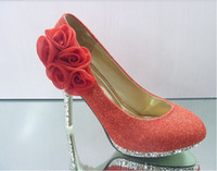 Wholesale wolesale rose water drill golden and red bow heels waterproof shoes dress shoes wedding