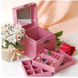 Wholesale Make Up Cosmetic Storage Case Box Jewelry Bag earrings Container boxes Rose red Pink Red Purple