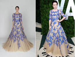 Wholesale 2012 New Lily Collins In Monique Lhuillier Vanity Fair Oscar Party Celebrity Dresses