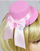 tea party hats - Pink Ribbon Mini Top Hat Hair Clip Tea Party Burlesque Costume Headpiece cm hat diameter