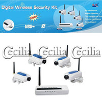 Wholesale network Security Camera Digital Wireless Camera x4 CCTV Security DVR Kit DHL SALE SS102407