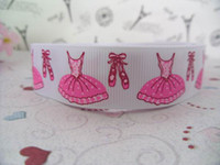 Wholesale quot Ballet Shoes Grosgrain ribbon print ribbon ribbon for hair bow ribbon bow white