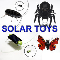 Wholesale 10set Solar Power toy kit Green Grasshopper butterfly spider Cockroach Mixed set gifts