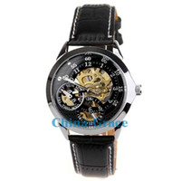 Wholesale Best Quality Dress Man Black Leather Mechanical Wrist Watches Cheap Price Gift Watch For Men W145