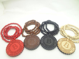 Wholesale B Ball chain necklace Beer cover B wood pendant necklace wood NYC