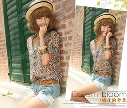 Wholesale Korea Style Leopard Print V Neck Turn up Cuff Thin Long Sleeve Chiffon Shirt
