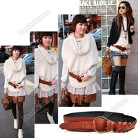 Wholesale Women Fashion Sweet Knit Wide Waist Leather Belt Brown