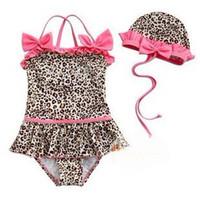 Wholesale Pink leopard grain girls conjoined twins bathing suit swim cap R18