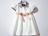 Wholesale 10pcs Girls clothing baby girl s white dress one piece dress Belt skirt summer wear nebeautiful
