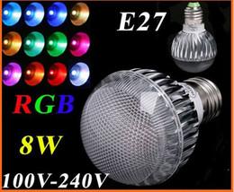 2pc AC 100-240V RGB LED Lamp 8W E27 led Bulb Lamp with Remote Control led lighting free shipping