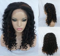 synthetic hair kinky curl lace wig - 18 inches NEW Style LACE FRONT WIG Long Black MIX