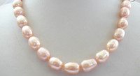 Asian & East Indian baroque freshwater cultured pearl necklace - stunning BIG mm baroque PINK freshwater cultured pearl necklace