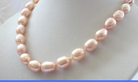 baroque freshwater cultured pearl necklace - stunning BIG mm baroque PINK freshwater cultured pearl necklace