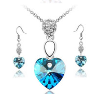 Wholesale 2012 New sterling silver beautiful heart necklace earring set