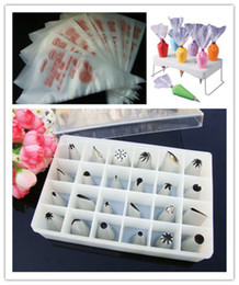 Bakeware Tool 24pcs Cake Icing Nozzles +100pcs extrusion platic bags +Decorating bag holder Cake