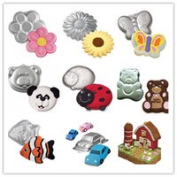 Wholesale 9Types Cake Mold CAKE PAN TIN MOLD FONDANT DECORATING BAKING MOULD TOOL BEAR FLOWER FISH BAKEWARE