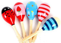 Wholesale Hot Sale Cartoon Color Pattern Wooden Maracas Cabasa Sand Hammer Preschool toys Baby Toddler Toys