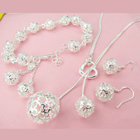 Wholesale lowest price fashion silver charm Beautiful Lovely ball Earring Necklace Bracelet Set jewelry