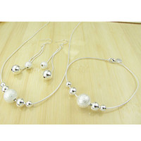 Wholesale lowest price fashion silver charm Beautiful Lovely beads Earring Necklace Bracelet Set jewelry