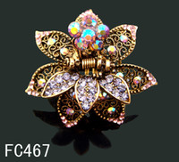 Wholesale hot sell Women Vintage hair jewelry rhinestone Butterfly hair claw Hair Accessories mixed color FC467