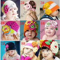 Wholesale Lovely Crochet Baby Flower Hat Hand Knitted Baby Flower Hat Crochet Girls Spring Hat Baby Beanie