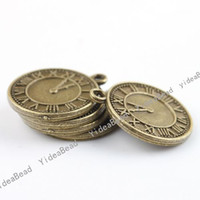 Wholesale 120pcs HOT Antique Bronze Charms pendants Bead Clock Shape Vintage Charms Pandents IN STOCK