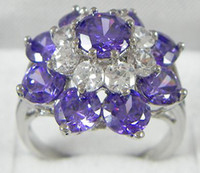 Wholesale womens Elegant Jewelry KT white Gold filled clear Nature sapphire gemstone Rings