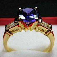 Women's alexandrite rings - New gorgeous ring solid K GP yellow gold ct alexandrite purple gemstone rings beautiful ring