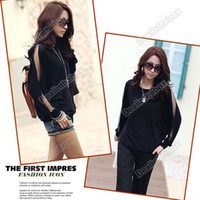 Wholesale Fashion Women s Trendy Long Sleeve Loose T Shirt Batwing Tops Blouses Black Cotton Polyester
