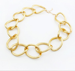 Gold necklace round ring choker necklace Scrub European jewelry collar necklace 20pcs lot