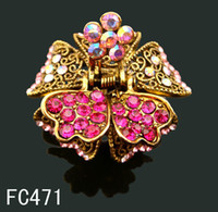 Wholesale hot sell Vintage hair jewelry zinc alloy rhinestone flower hair claw Hair Accessories mixed color FC471