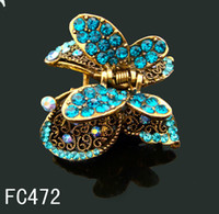 Wholesale women hot sell hair jewelry zinc alloy rhinestone Butterfly hair claw hair clips Hair Accessories mixed color FC472