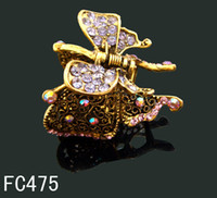 Wholesale hot sell Vintage fashion hair Jewelry crystal rhinestone Butterfly hair claw clip hair accessory Mixed colors FC475