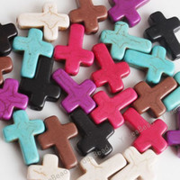 Wholesale 50pcs New Mixed Howlite Gem Turquoise Cross Loose Beads Fit Beads Bracelets DIY Have in Stock