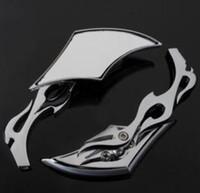 Wholesale Pair Custom Motorcycle Chrome Blade Flame Mirrors NEW