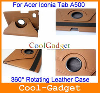 Wholesale 360 Rotating Leather Case Cover w Swivel Stand for Acer ICONIA Tab A500 A500C02