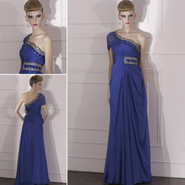 Wholesale Conniefox One Shoulder Cap Sleeve Blue Evening Party Dress Cheap Tencel Silk Beadings Stock