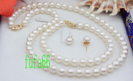 Wholesale GENUINE quot FINE mm AAA WHITE AKOYA PEARL NECKLACE SET SILVER