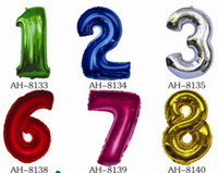 Wholesale Aluminium Balloon to Number BALLOONS quot Party Balloons Birthday Balloons colors DHL Free