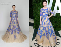 Wholesale 2012 New Lily Collins In Monique Lhuillier Vanity Fair Oscar Party Celebrity Dresses Prom Dresses