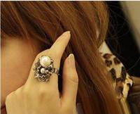 Venta caliente!Nueva moda para Mujer de la chica de la perla & diamantes de imitación de rosa flor Anillos,anillo de dedo/el Oro,la Plata