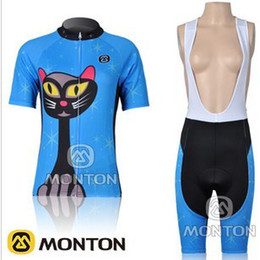 WOMEN CYCLING JERSEY + BIB SHORTS BIKE SETS CLOTHES 2011 BLUE CAT TEAM SIZE:XS-XL