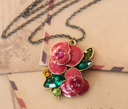 Women's Accessories Lady Necklace The Color Drill Drops Of Oil Rose Pendant Long Necklace