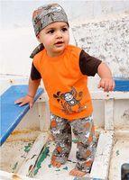 2T-3T beach boys clothing - Boy Summer Suit Three Piece Beach Clothes Sets Monkeys T Shirt Middle Pants and Headband