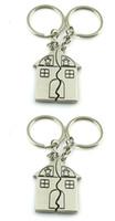 Acheter Keyring couple maison-Amour clé de la maison clés add-ons Couple bébé et fille porte-clés porte-clés porte-clés anneau Noël
