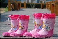 Wholesale 2015 three princess beam girls parent children models children s rain boots rainshoes galoshes with cotton line kid gift