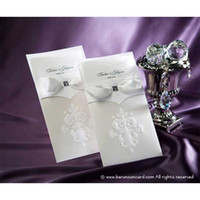 Wholesale Flower de luce Wedding Invitations Wedding Invitaion Cards with Ribbon RSVP Card New Set of